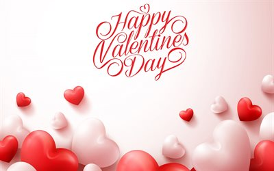 Happy Valentines Day, February 14, 3d pink hearts, love concepts, congratulation