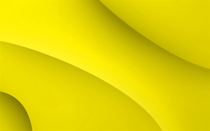 yellow 3d background, waves, lines, yellow creative background, 3d artwork