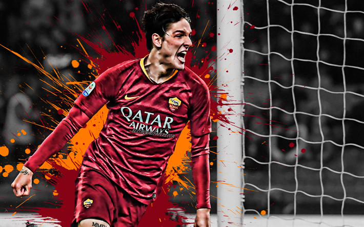 Nicolo Zaniolo, 4k, Italian football player, AS Roma, midfielder, red orange paint splashes, creative art, Serie A, Italy, football, grunge, Zaniolo