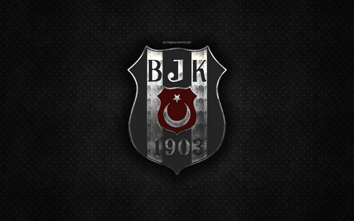 Besiktas JK, Turkish football club, black metal texture, metal logo, emblem, Istanbul, Turkey, Super Lig, creative art, football, Besiktas