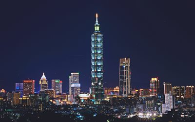 Download Wallpapers Taipei 101 4k Panorama Nightscapes
