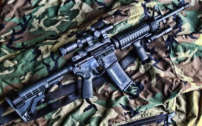 AR-15, assault rifle, ArmaLite AR-15, camouflage, Self-loading rifle, ArmaLite
