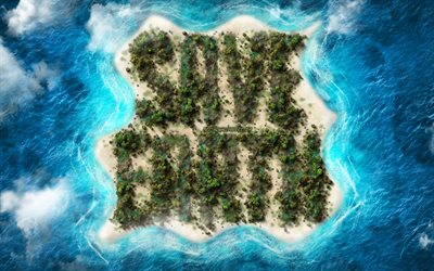 Save Earth, ecological concepts, tropical island, creative art, environment, ecology