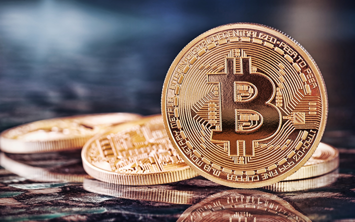 Bitcoin, golden coins, electronic money, coins, crypto currency, macro