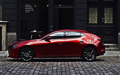 Mazda 3, 2019, side view, red hatchback, new red Mazda 3 2019, japanese cars, Mazda