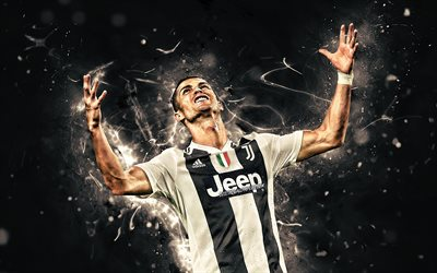 Cristiano Ronaldo, hands up, portuguese footballers, Juventus FC, goal, Italy, CR7 Juve, Bianconeri, football stars, soccer, Serie A, striker, neon lights, CR7, abstract art