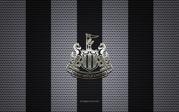Download Wallpapers Newcastle United Fc Logo English Football Club Metal Emblem Black White Metal Mesh Background Newcastle United Fc Premier League Newcastle Upon Tyne England Football For Desktop Free Pictures For Desktop