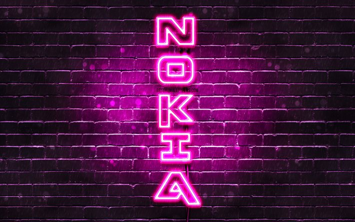 4K, Nokia purple logo, vertical text, purple brickwall, Nokia neon logo, creative, Nokia logo, artwork, Nokia
