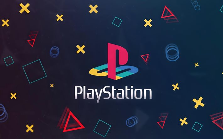 PlayStation 4, 4k, PS4, blue background, PlayStation logo, emblem, PS4 logo