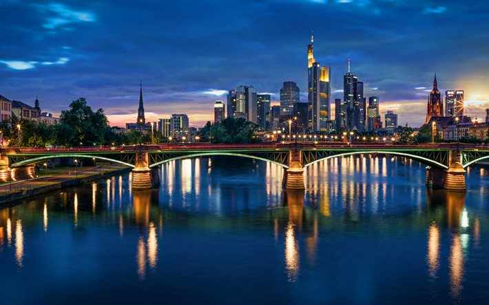 Frankfurt am Main, bridge, nightscapes, german cities, Frankfurt skyline, Germany, Europe