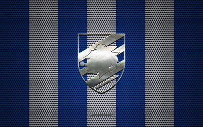 UC Sampdoria logo, Italian football club, metal emblem, blue white metal mesh background, UC Sampdoria, Serie A, Genoa, Italy, football