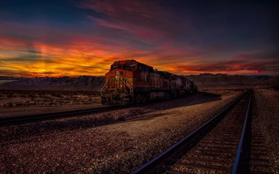 BNSF 4066, 4k, railway, trains, sunset, America, USA, BNSF