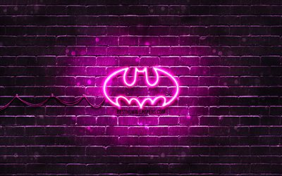 Batman mor logo, 4k, mor brickwall, Batman logo, süper kahraman, Batman neon logo, Batman