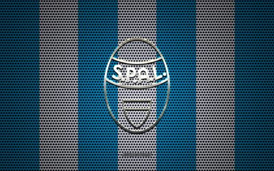 SPAL FC logo, Italian football club, metal emblem, blue and white metal mesh background, SPAL FC, Serie A, Ferrara, Italy, football