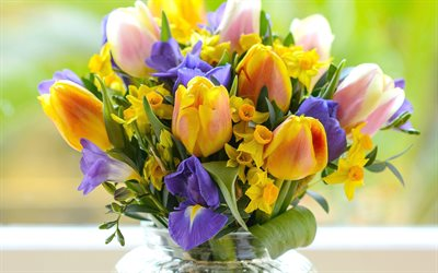 yellow tulips, spring bouquet, spring flowers, tulip bouquet, yellow flowers
