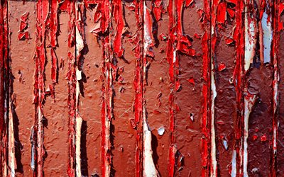 red stone wall, macro, red wall, stone textures, red grunge background, red peeling paint, peeling paint textures, stone backgrounds, red backgrounds, red stone