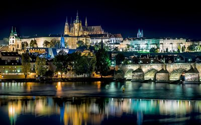 Prague, czech cities, nightscapes, river, bridges, Czech Republic, Europe