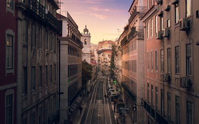 Lisbon, evening, cityscape, tram rails, buildings, Portugal