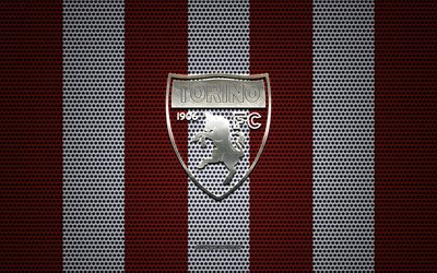 Torino FC logo, Italian football club, metal emblem, red and white metal mesh background, Torino FC, Serie A, Torino, Italy, football
