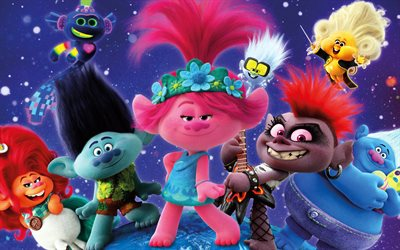 Trolls World Tour, 2020, 4k, characters, promotional materials, poster, main characters, Branch, Biggie