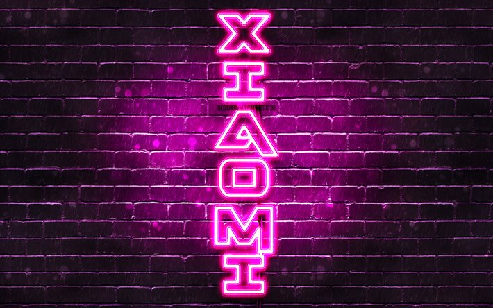 4K, Xiaomi purple logo, vertical text, purple brickwall, Xiaomi neon logo, creative, Xiaomi logo, artwork, Xiaomi