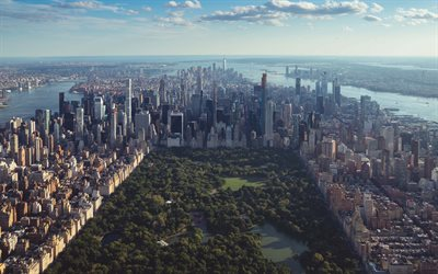 Central Park, New York City, Manhattan, morning, sunrise, skyscrapers, modern buildings, metropolis, cityscape, New York, USA