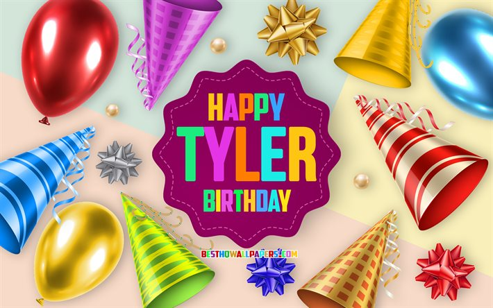 Happy Birthday Tyler, Birthday Balloon Background, Tyler, creative art, Happy Tyler birthday, silk bows, Tyler Birthday, Birthday Party Background