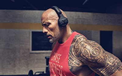 Dwayne Johnson, portrait, american wrestler, American actor, bodybuilding, american star