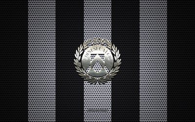 Udinese Calcio logo, Italian football club, metal emblem, black white metal mesh background, Udinese Calcio, Serie A, Udine, Italy, football