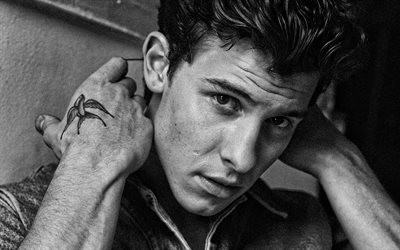 Shawn Mendes, portrait, canadian singer, monochrome, photoshoot, canadian stars