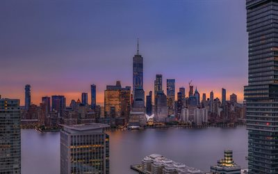 New York City, One World Trade Center, evening, sunset, skyscrapers, New York cityscape, USA