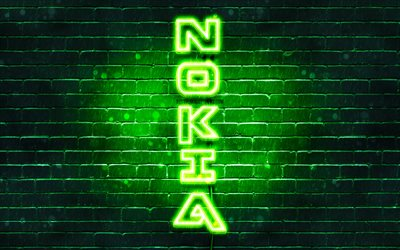 4K, Nokia green logo, vertical text, green brickwall, Nokia neon logo, creative, Nokia logo, artwork, Nokia