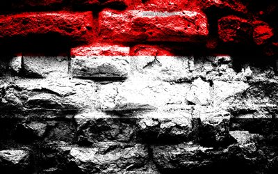 Empire of Yemen, grunge brick texture, Flag of Yemen, flag on brick wall, Yemen, flags of Asian countries