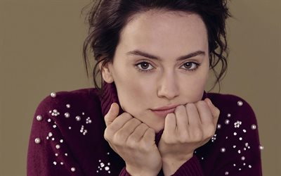 Daisy Ridley, English actress, portrait, purple sweater, photoshoot, beautiful female eyes