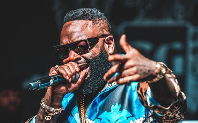 Rick Ross, concert, american rapper, music stars, William Leonard Roberts II, photoshoot, Rick Ross with microphone