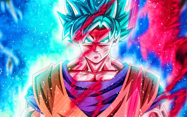 Son Goku, colorful fire, DBS characters, Dragon Ball, fan art, Dragon Ball Super, DBS, artwork, Son Goku DBS