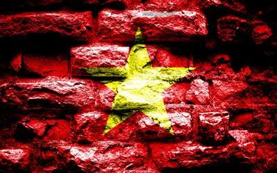 Empire of Vietnam, grunge brick texture, Flag of Vietnam, flag on brick wall, Vietnam, flags of Asian countries