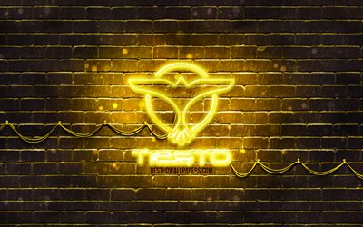 DJ Tiesto yellow logo, 4k, superstars, dutch DJs, yellow brickwall, DJ Tiesto logo, Tijs Michiel Verwest, music stars, DJ Tiesto neon logo, DJ Tiesto