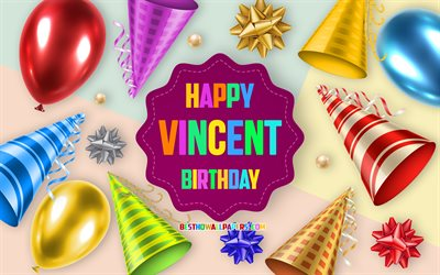 Happy Birthday Vincent, Birthday Balloon Background, Vincent, creative art, Happy Vincent birthday, silk bows, Vincent Birthday, Birthday Party Background