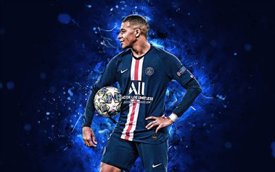 4k, Kylian Mbappe, PSG, 2020, french footballers, neon lights, Kylian Mbappe Lottin, soccer, forward, Ligue 1, football, Kylian Mbappe 4k, Paris Saint-Germain, Mbappe