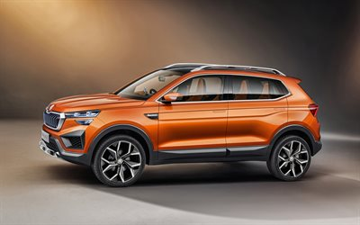 2020, Skoda Vision IN Concept, side view, exterior, orange crossover, new orange Vision IN, Czech cars, Skoda