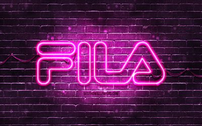 Fila purple logo, 4k, purple brickwall, Fila logo, brands, Fila neon logo, Fila