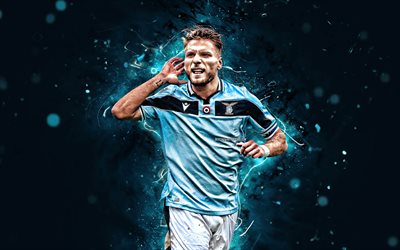 4k, Ciro Immobile, 2020, Lazio FC, italian footballers, soccer, Serie A, Italy, neon lights, Immobile, football, SS Lazio