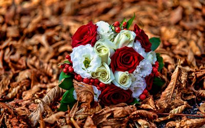 wedding bouquet, bokeh, autumn, yellow leaves, bouquet of roses
