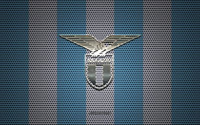 SS Lazio logo, Italian football club, metal emblem, blue white metal mesh background, SS Lazio, Serie A, Rome, Italy, football