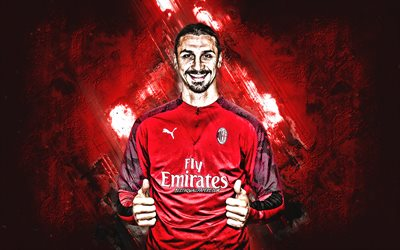 Zlatan Ibrahimovic, AC Milan, Swedish football player, portrait, red stone background, Italy, football