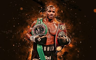 Daniel Dubois, 4k, brown neon lights, British boxers, WBO, Daniel Dubois with belt, boxers, Daniel Dubois 4K