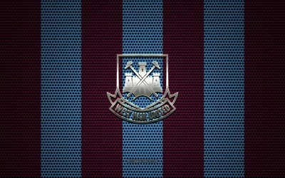 West Ham United FC logo, English football club, metal emblem, burgundy blue metal mesh background, West Ham United FC, Premier League, London, England, football