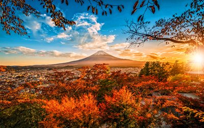 Mount Fuji, sunset, autumn, mountains, stratovolcano, Fujisan, Fujiyama, Asia, japanese landmarks, Japan, HDR