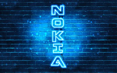 4K, Nokia blue logo, vertical text, blue brickwall, Nokia neon logo, creative, Nokia logo, artwork, Nokia